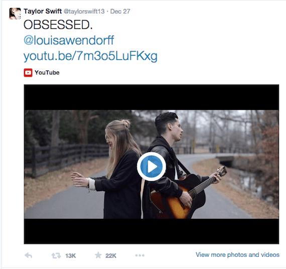 Screen Shot of Taylor Swift Twitter 2014