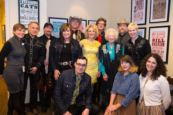 Pictured (back row, l-r): Deke Dickerson, Chuck Mead, and Martin Lynds; (middle row, l-r): the Country Music Hall of Fame and Museum's Ali Tonn, Carco Clave, James Burton, Suzy Bogguss, Cam, Rose Lee Maphis, and Renae Truex; (front row, l-r): Chris Scruggs, Caitlin Rose, and the Country Music Hall of Fame and Museum's Abi Tapia. Photo: CK Photo