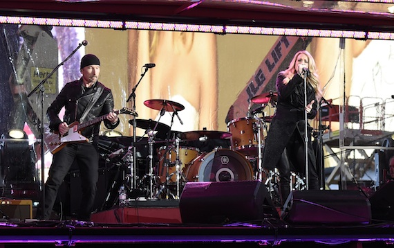 Carrie Underwood and The Edge. Photo: Kavin Mazur/Getty Images