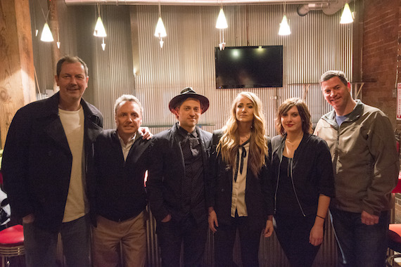 Mercy Lounge's John Bruton poses with BMI's Jody Williams, Ugly Kids Club's Steve Wilson and Aleigh Shields, BMI's Brooke Ivey and BMI's Mark Mason before the 8 off 8th Jingle Ball. Photo: Cameron Gray