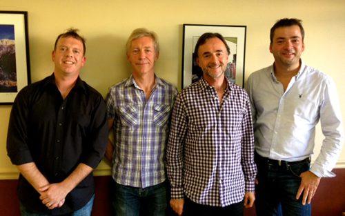 From left to right: AJ Burton (Nettwerk One), Mark Jowett (Nettwerk One), Barry Coburn (Ten Ten Music), Blair McDonald (Nettwerk One)