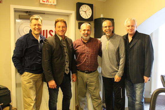 L-R – Bill Cody (Host), Tim Rushlow,  Dean Warfield (PD) ,Charlie Mattos (Producer) and Jimmy Ritchey (producer/Row Entertainment)