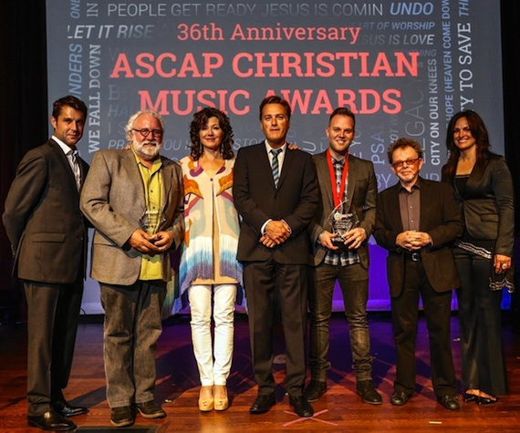The 36th Annual ASCAP Christian Music Award honorees. Pictured (L-R): ASCAP's Michael Martin; 2014 ASCAP Christian Music Awards honorees Eddie DeGarmo, Amy Grant, Michael W. Smith and Matthew West; and ASCAP's Paul Williams and LeAnn Phelan at the 2014 ASCAP Christian Music Awards. Photo: Ed Rode.