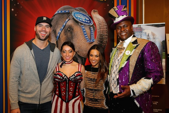 Pictured (L-R): Michael Caussin, Sabina, Jana Kramer, and Ringmaster Johnathan Lee Iverson attend the Ringling Bros. Presents LEGENDS Nashville Celebrity Event on January 23, 2015 at Bridgestone Arena. Photo: Terry Wyatt/Getty Images for Feld Entertainment