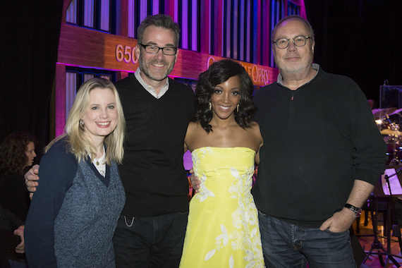 Pictured  (L to R): UMG Nashville President Cindy Mabe; Opry Entertainment Group President Steve Buchanan, Mickey Guyton and UMG Nashville Chairman & CEO Mike Dungan. Photo: Chris Hollo (Rachel Black)