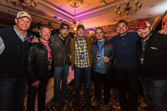 "Pictured (L-R): Mark Mason (BMI), Earl Simmons (SunTrust), Lee Brice (Curb Records), Bryan Bolton (SunTrust), Dustin Miller (SunTrust), Storme Warren (MC for the event and Host of Sirius XM ""The Highway""  & GAC's ""Headline Country""), Mason Hunter (BMI)"