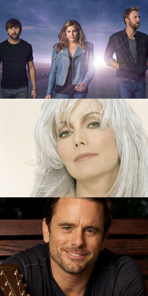 Pictured (Top-Bottom): Lady Antebellum, Emmylou Harris, Chip Eaton.
