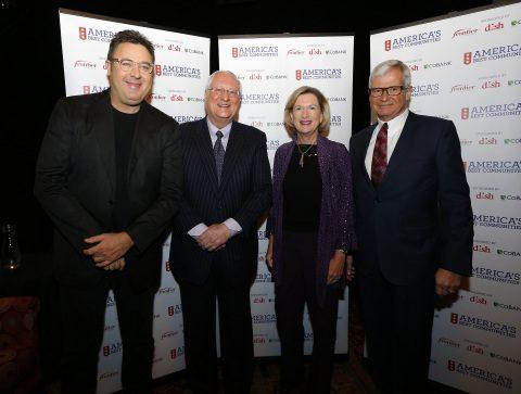 Pictured (L-R): Vince Gill, Joe Clayton (DISH), Maggie Wilderotter (Frontier) and Robert Engel (CoBank)