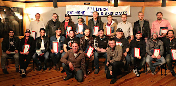 Kneeling: NSAI Executive Director Bart Herbison, NSAI Board President Lee Thomas Miller. Seated: Luke Laird, Troy Verges, Michael Carter, Cole Taylor, Rob Hatch, Ben Glover, Bart Millard, Mark Irwin, David Garcia, Andrew Dorff, Brett James. Standing: Wade Kirby, Barry Dean, Rhett Akins, Phil O'Donnell, Marc Beeson, Matt Dragstrem, Zach Crowell, Bernie Herms, Dallas Davidson