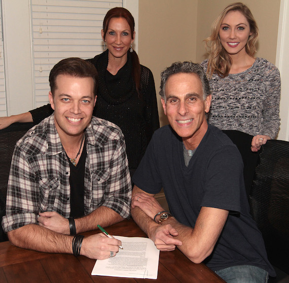 Pictured (L-R): Lucas Hoge, Laura Lynn (Manager), David Ross (President and CEO, Reviver Records) and Amanda French Clark (Sr. Publicist, Webster Public Relations). Photo by: Jeremy Westby