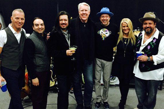 Pictured (L-R): Paul Deakin (The Mavericks), Mike Molinar (Big Machine Music), Eddie Perez (The Mavericks), George Briner (The Valory Music Co.), Jerry Dale McFadden (The Mavericks), Allison Jones (BMLG) and Raul Malo (The Mavericks).