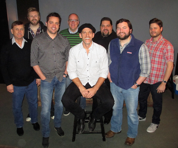 Pictured, back (L-R): Warner Chappell's BJ Hill and Phil May, SESAC's Tim Fink and Warner Chappell's  Matt Michiels. Front, (L-R):  SESAC's John Mullins Warner Chappell's Travis Carter, Pence and Warner Chappell's Blain Rhodes.