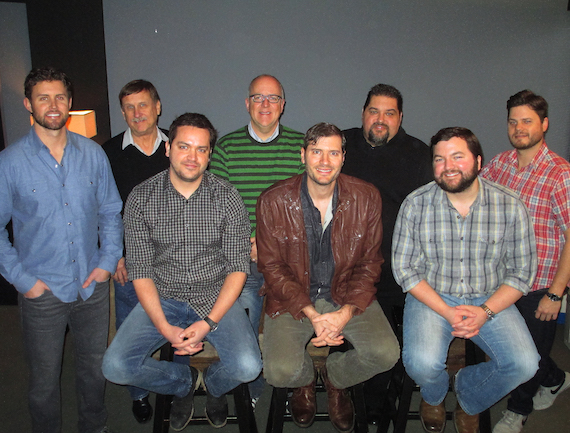 Pictured (L-R) Back: Warner/Chappell's Ryan Beuschel, SESAC's John Mullins, Warner/Chappell's Phil May, SESAC's Tim Fink, Warner/Chappell's Matt Michiels.Front row, (left to right): Warner/Chappell's Travis Carter, Sheets and Warner/Chappell's Blain Rhodes.