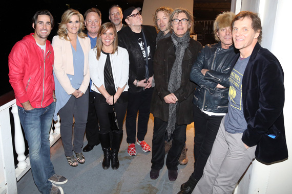 (L-R): Jake Owen; Trisha Yearwood; Sony Music Nashville Chairman & CEO Gary Overton; Arista Nashville VP Promotion Lesly Simon; RCA Nashville Sr. VP National Promotion Keith Gale; Cheap Trick's Rick Nielsen, Daxx Nielsen, Tom Petersson, and Robin Zander; and Columbia Nashville VP Promotion Norbert Nix.