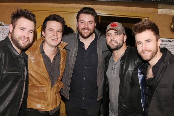 Sharing a moment at the Sony Music Nashville Boat Show on Thursday night were label group recording artists (L-R) The Swon Brothers' Zach Swon, Josh Dorr, Chris Young, Tyler Farr, and The Swon Brothers' Colton Swon.