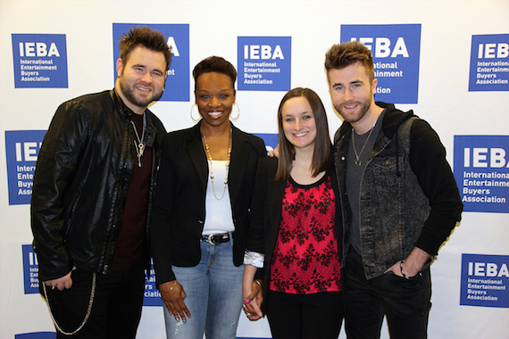Pictured (L-R)L Zach Swon of The Swon Brothers, Sinita Tatum (IEBA Student Member and 2014 MTSU graduate now employed with Neste Event Marketing), Kelly Feild (Belmont Student and 2014 IEBA Scholarship Recipient), and Colton Swon of The Swon Brothers.