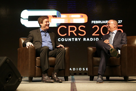 Keynote Speaker Todd Wagner (left), interviewed by Charlie Morgan, CRS Board President (right) during opening ceremonies of 2015′s Country Radio Seminar.
