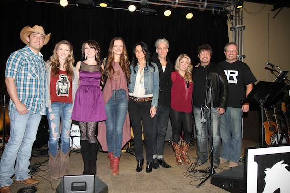 Pictured (L-R): Sim Balkey, Kaitlyn Baker, Megan Moreaux, Hannah Bethel, Rivers & Rust (Sheila Marshall and Kyle Cook), Danielle Bourjeaurd, guest host Jeff Bates, Digital Rodeo Pres. John Pyne. Photo: Bev Moser