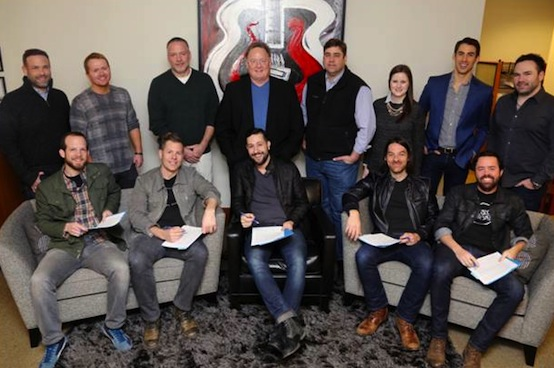 Front Row (L-R): Old Dominion's Whit Sellers, Trevor Rosen, Matthew Ramsey, Geoff Sprung, Brad Tursi Back Row (L-R): Clint Higham (Morris Higham Management), Shane McAnally (producer), Keith Gale (SVP/National Promotion, RCA), Gary Overton (Chairman & CEO, Sony Music Nashville), Jim Catino (VP, A&R, Sony Music Nashville), Taylor Lindsey (Director, A&R, Sony Music Nashville), Will Hitchcock (Morris Higham Management), Nate Ritches (Morris Higham Management) Photo: Alan Poizner