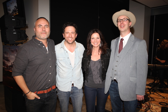 Pictured (L-R): Producer Marshall Altman, Will Hoge, GAC's Celebrity Host Nan Kelley and AMP Management's Jordan Powell. Photo: Glen Rose