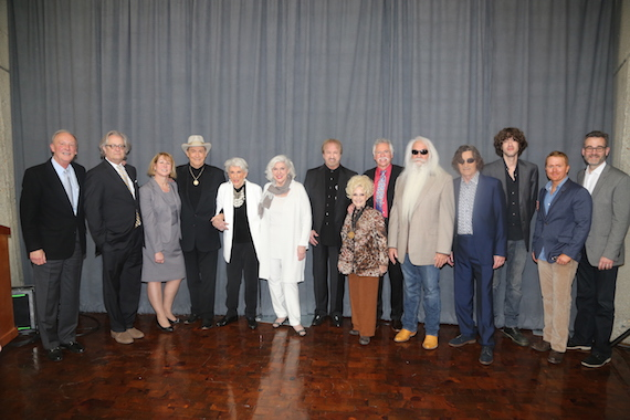 Pictured (L-R): Frank Bumstead, Chairman of Flood, Bumstead, McCready & McCarthy and CMA Board Chairman; Kyle Young, Director of the Country Music Hall of Fame and Museum; Sarah Trahern, CMA Chief Executive Officer; Jim Ed Brown; Maxine Brown; Bonnie Brown; The Oak Ridge Boys' Duane Allen; Country Music Hall of Fame member Brenda Lee; Joe Bonsall, William Lee Golden, and Richard Sterban of The Oak Ridge Boys; Joshua Martin; Shane McAnally, CMA Awards & Recognition Committee Vice Chairman; Steve Buchanan, President of Opry Entertainment Group and CMA Board member. Photo: Alan Poizner / CMA