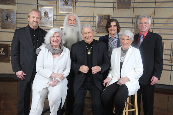 Jim Ed Brown and The Browns (seated, L-R) Bonnie, Jim Ed, and Maxine Brown) and The Oak Ridge Boys (L-R): Duane Allen, William Lee Golden, Richard Sterban, and Joe Bonsall) are the newest inductees of the Country Music Hall of Fame. Grady Martin will be inducted posthumously. Photo: Alan Poizner / CMA