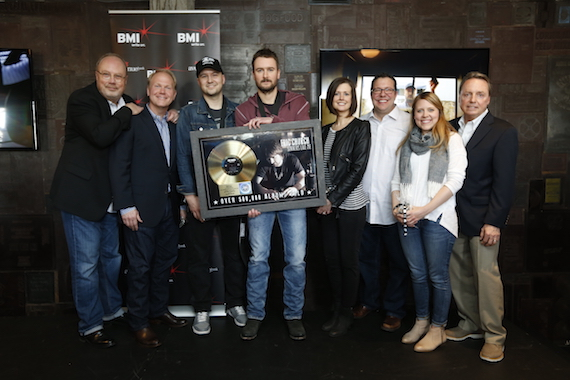Pictured (L-R): EMI Nashville's Mike Dungan, Sony/ATV's Troy Tomlinson, BMI songwriter Luke Laird, BMI songwriter Eric Church, Creative Nation's Beth Laird, Universal Publishing's Kent Earls, Little Louder Music's Whitney Parker, BMI's Jody Williams.