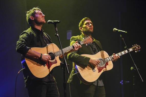 "Hillsong UNITED's Matt Crocker and Jad Gillies perform ""Oceans (Where Feet May Fail)."""