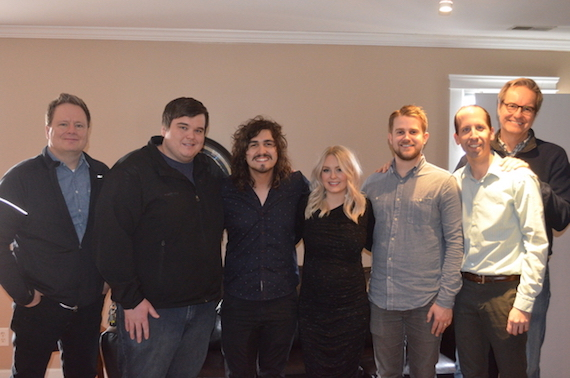 Pictured (L-R): Steve Ford, Centricity Music; Adam Taylor, Motion Management; Jordan Feliz; Jamie Feliz; Jon Sell, Ben Stauffer, John Mays, Centricity Music