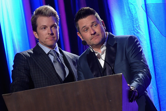 Rascal Flatts' Joe Don Rooney and Jay DeMarcus speak at the T.J. Martell Foundation's 7th Annual Nashville Honors Gala