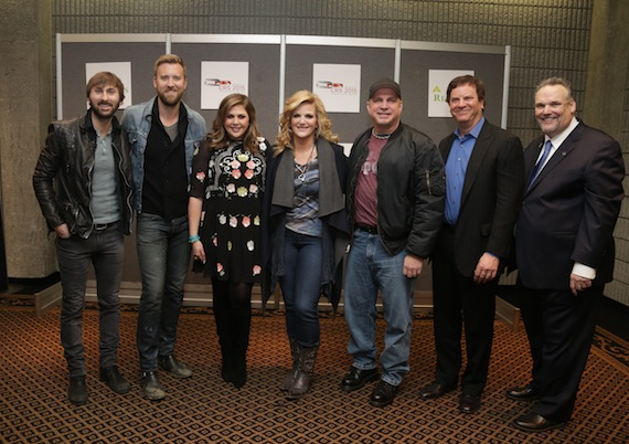 Opening day of CRS 2015. Pictured from left to right are: Lady Antebellum(Dave Haywood, Charles Kelley and Hillary Scott), Trisha Yearwood, Garth Brooks, Todd Wagner and Bill Mayne (CRS Executive Director). Photo: Sara Kauss