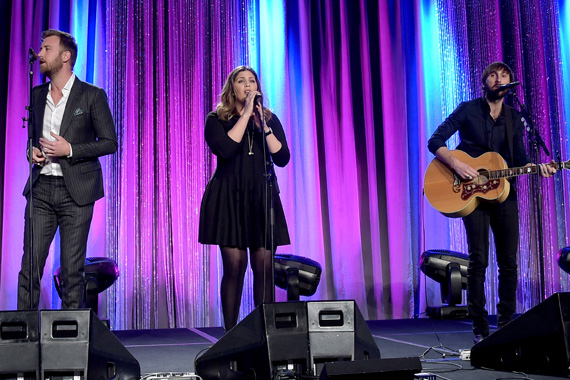 Charles Kelley, Hillary Scott, and Dave Haywood of Lady Antebellum perform at the T.J. Martell Foundation's 7th Annual Nashville Honors Gala.