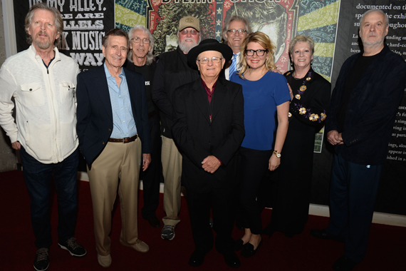 Pictured (L-R): Nashville Cats Mac Gayden, Lloyd Green, Wayne Moss, Charlie Daniels, and Charlie McCoy; CMHoF's Kyle Young; Marcie Allen Van Mol, President of MAC Presents; CMHoF's Carolyn Tate; and Nashville Cat David Briggs. Photo: Jason Davis, Getty Images