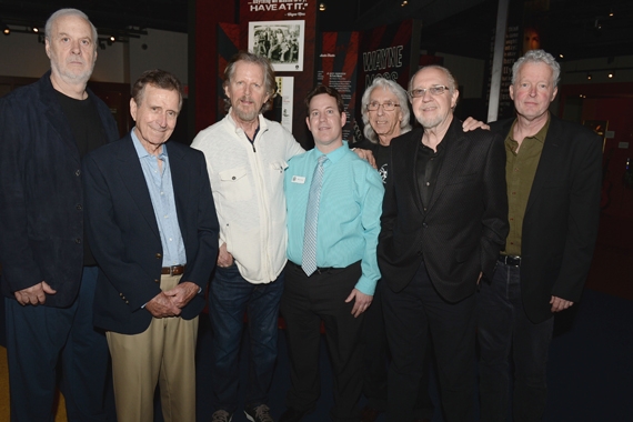 Pictured (L-R): Nashville Cats David Briggs, Lloyd Green, and Mac Gayden; CMHoF curator Michael Gray; Nashville Cats Wayne Moss and Norbert Putnam; and guest co-curator Pete Finney. Photo: Jason Davis, Getty Images