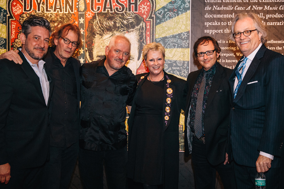 Pictured (L-R): designer Jeff Stamper; CMHoF's Warren Denney; artist Jon Langford; and the CMHoF's Carolyn Tate, Mick Buck, and Kyle Young. Photo: CK Photo