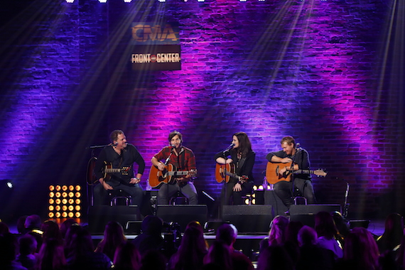 """Pictured (L-R): Bob DiPiero, Charlie Worsham, Brandy Clark, and Shane McAnally perform during """"Front and Center"""" CMA Songwriters Series. The episode will begin airing April 11 on Public Television. Photo: Donn Jones/CMA"""