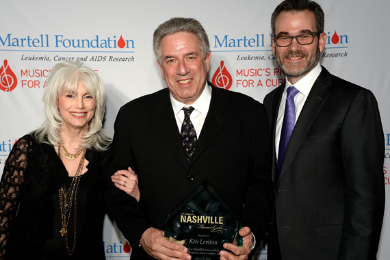 EmmyLou Harris, Tony Martell Outstanding Entertainment Achievement Award honoree Ken Levitan, and Steve Buchanan attend the T.J. Martell Foundation's 7th Annual Nashville Honors Gala