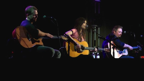 (l. to r.): Josh Osborne, Kacey Musgraves and Shane McAnally at the 3rd & Lindsley early show.