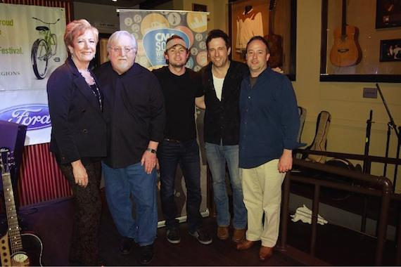 Pictured (L-R): Amy Smart, Country Music Association; Pat Alger; Brandon Lay; Will Hoge; Chris Crawford, Country Music Association at the CMA Presents show at the Hard Rock Cafe Wednesday night