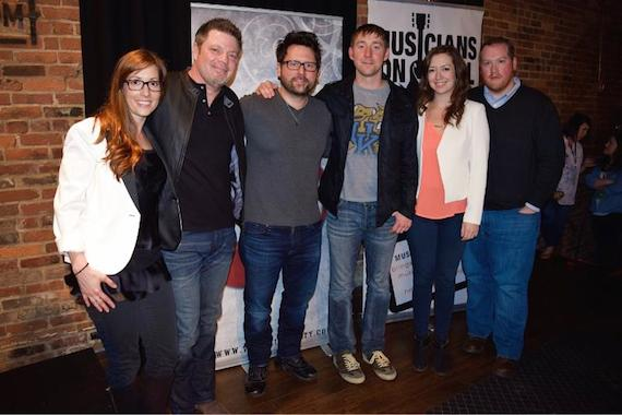 Pictured (L-R): Katy Epley, Musicians On Call; Rodney Clawson; Chris DeStefano; Ashley Gorley; Dana Sones, Musicians On Call; James Howell, Musicians On Call at the Listening Room Cafe Friday night. Photo: Bev Moser