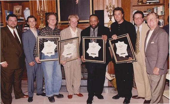 SparrowMusic Publishing Songwriting Achievement Awards presentations to Charlie Peacock, Steven Curtis Chapman, Andrae Crouch, and Michael W. Smith. Billy Ray Hearn is pictured on the right next to his son Bill Hearn.