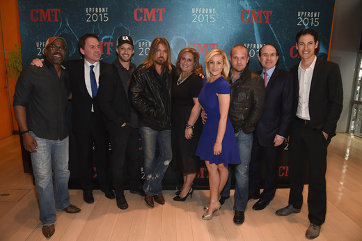 Pictured (L-R): Darius Rucker, Brian Phillips, Josh Wolf, Billy Ray Cyrus,Cyma Zarghami, Kellie Pickler, Kyle Jacobs, Philippe Dauman, and Joey Logano attend the Annual 2015 CMT Upfront at The Times Center on April 2, 2015 in New York City. Photo: Larry Busacca/Getty Images for CMT