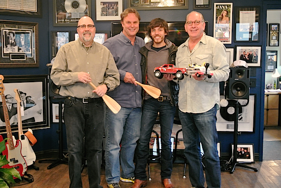 Pictured (L-R): Kevin Herring SVP Promotion, Warner Music Nashville; Scott Hendricks, EVP A&R, WMN; Janson and John Esposito, President & CEO WMN. Photo: Mary Catherine Rebrovick