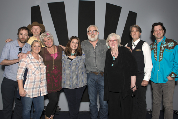 Pictured (L-R): Phil Barton, Liz Rose (front), Wynn Varble (back), Roxie Dean, Tatum Hauck-Allsep (Music Health Alliance Founder), Rivers Rutherford, Sandy Knox, Richard Leigh, and Peter Cooper. Photo: Beth Gwinn