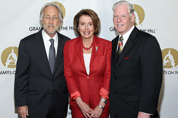 The Recording Academy's Neil Portnow, Rep. Nancy Pelosi and SESAC's Pat Collins.