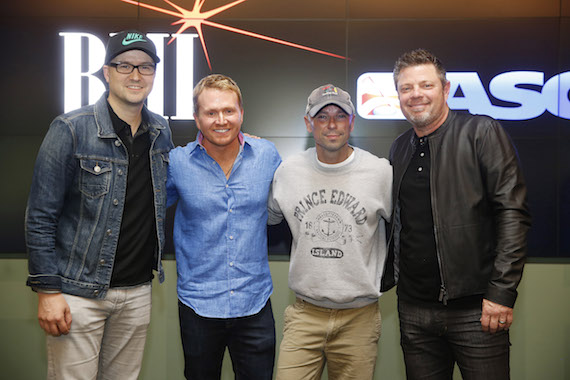 Pictured (L-R): Luke Laird, Shane McAnally, Kenny Chesney and Rodney Clawson.