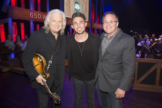 Pictured (L-R): Opry member Ricky Skaggs, Michael Ray and Pete Fisher, VP and GM, Grand Ole Opry.