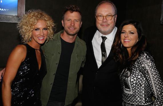 "Pictured (L-R): Little Big Town's Kimberly Schlapman (Vocal Group of the Year), Dierks Bentley (Video of the Year ""Drunk on a Plane""), UMG Nashville Chairman and CEO Mike Dungan, LBT's Karen Fairchild  (Vocal Group of the Year). Photo: Alan Poizner"