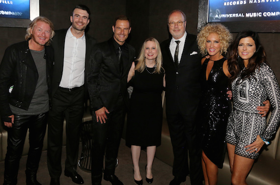 Pictured (L-R): Little Big Town's Phillip Sweet (Vocal Group of the Year), Sam Hunt (New Artist of the Year nominee), LBT's Jimi Westbrook (Vocal Group of the Year), UMG Nashville President Cindy Mabe, UMG Nashville Chairman and CEO Mike Dungan,  LBT's Kimberly Schlapman  (Vocal Group of the Year) and LBT's Karen Fairchild (Vocal Group of the Year). Photo: Alan Poizner