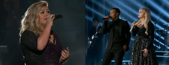 Kelly Clarkson (L) performs. John Legend (C) takes the stage with Meghan Trainor (R). Photos: BBMA.